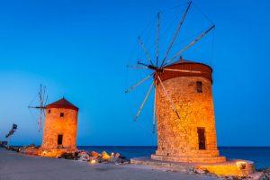 Dodekanes Windmühlen auf Rhodos