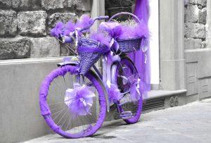 Fahrrad violett verpackt