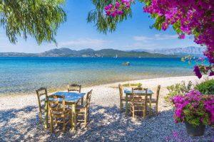 Ionische Inseln Taverne am Strand